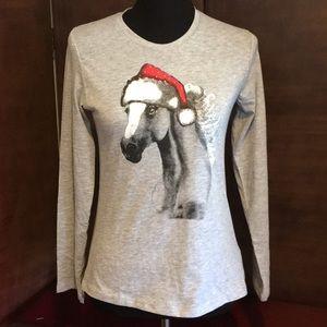 Falls Creek Horse w/Santa Hat Shirt Gray Large